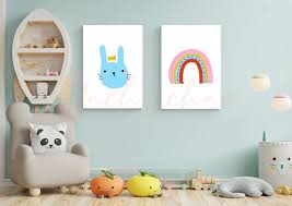 set 2 print art nursery room decor baby
