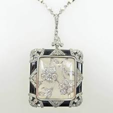 art deco platinum diamond black onyx pendant