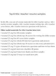 Titles For Resume Best Resume Title Examples For Freshers Good Titles Resumes On Top 8