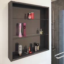 bathroom cloakroom 600mm patello wall open storage unit grey with glass shelves