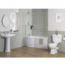 White Bathroom Suite Traditional Bathroom Suite With Left Hand P Shape Shower Bath