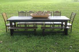 farm style outdoor dining tables with charming walnut chair and benches design room ideas bench