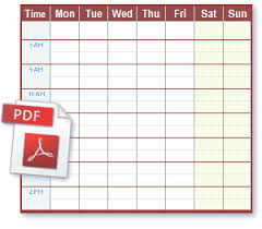 week time schedule template schedule pdf files ideal for printing