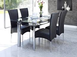 Glass Dining Table Set 4 Chairs Round Glass Dining Table For 4 Kitchen Decor With 5 Piece