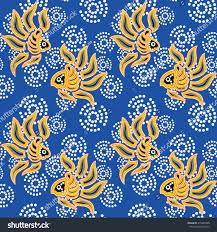 Batik Fish Design Seamless Patternseamless Background Beautiful Batik Fish
