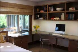 home office desk decorating ideas office furniture. Corner L Shaped Office Desk With Hutch Rounded Stand Lamp Gray Wall Bookcase Unit Large Half Home Decorating Ideas Furniture