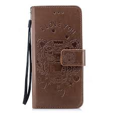 intricate embossing tiger leather wallet case for samsung galaxy s7 edge s7edge brown leather case guuds