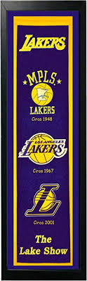 Please read our terms of use. Amazon Com Encore Los Angeles Lakers Logo History Felt Banner 14 X 37 Framed Sports Outdoors