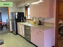Related stories. retro-modern-white-kitchen Melita uses steel laboratory  cabinets ...