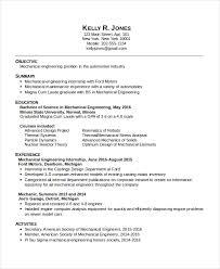 Mechanical Engineering Resume Templates 9 Mechanical Engineering Resume For  Internship