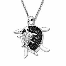 enhanced black and white diamond mother turtle and baby turtle pendant in 10k white gold