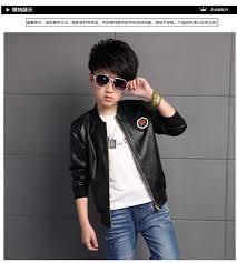 korean children outfits boys leather jackets for girls coat fleece lining kids children outwear pu autumn winter