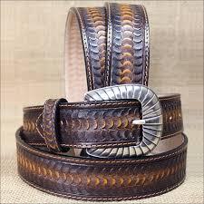 silver creek men bull snake print tan leather western belt zoom
