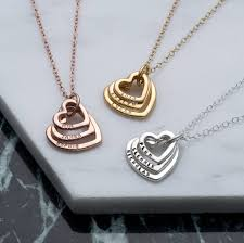 personalised family names heart necklace