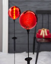 Red Solar Pathway Lights Mercury Glass Led Pathway Globes Set Of 2 Solar Powered