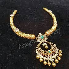 Hyderabad Gold Designs 22 Carat Gold Kante Haram From Anagha Jewellery
