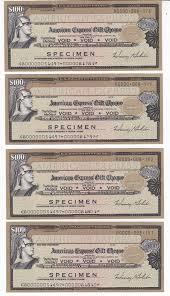 us american express travelers cheque specimen 4 x 100 usd unc j011 1919027040