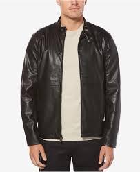 perry ellis black men s faux leather full zip er jacket