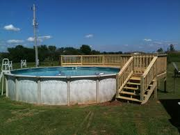 above ground round pool with deck. Above Ground Pool Deck Ideas With Wooden Railing Ans Stair Above Ground Round Pool With Deck