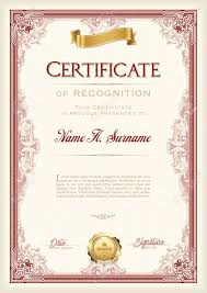 Certificate Recognition Certificate Of Recognition Vintage Frame With Gold Ribbon Portrait