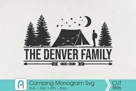 Cut file + sublimation transfer png. Camping Monogram Svg Camper Svg Camping Clip Art Pinoyartkreatib Crafters Svgs Monogram Svg Graphic Design Resources Silhouette Design Studio