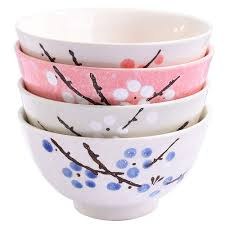 Ceramic Bowl Designs Asian Rice Bowls Set Of 4 Japanese Style Hand Painted Floral Plum Ceramic Bowls Set Of 4 Color For Dessert Snack Cereal Soup