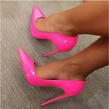 hot pink patent leather pointy toe sti heel pumps image 1