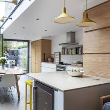 modern open plan kitchen with skylight