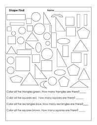Color by Shape Worksheet Kindergarten | Loving Printable