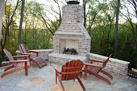 outdoor patio fireplace ideas pale vintage brick patio corner fireplace with fence