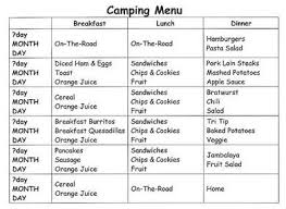Cub Scout Meal Planning Chart Easy Camp Food Meals Recipes And Camping Menu Planning Ideas