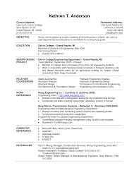 Engineering Undergraduate Resume Template Resume For Study