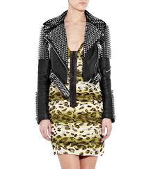 womens silver studded embellished designer leather biker jacket