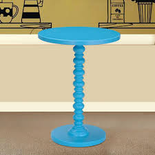adeco round wood spindle decorative end side table