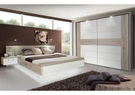Schlafzimmer Mit Bett 180 X 200 Cm Sandeiche Weiss Hochglanz Avec