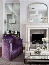 rust velvet club chairs living room traditional with antique mirror coffee table purple decorative objects and figurines