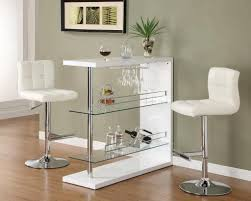 piece bar table set in gloss white with  bar stools by coaster