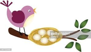 bird eggs clipart. Exellent Bird Bird With Eggs In A Nest On Branch Intended Clipart