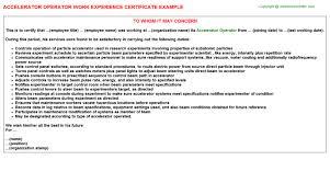 Accelerator Operator Work Experience Certificates Experience