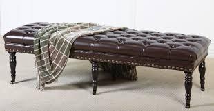 black tufted storage bench. Dark Brown Leather Tufted Storage Bench Ottoman With Wooden Base On White Fabric Carpet Ideas Black O