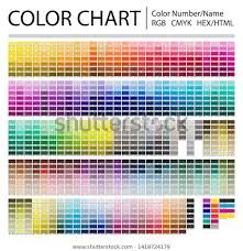 Color Chart With Names Color Chart Print Test Page Color Stock Vector Royalty Free