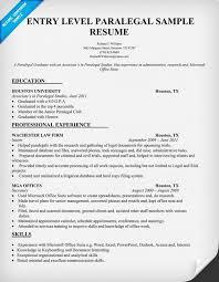 Sample Entry Level Paralegal Resume
