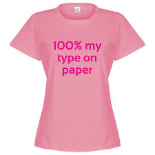 love island % my type on paper womens t shirt pink