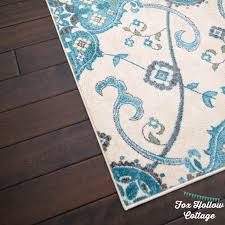 aqua rug wood floors foxhollowcottage
