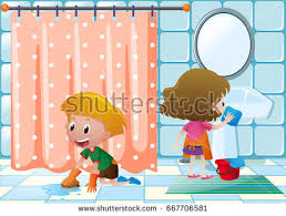 clean bathroom clipart.  Clipart Boy Girl Cleaning Bathroom Illustration Stock Vector Inside Clean Clipart T