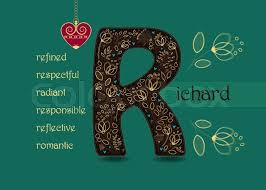 Romantic Letter Best Name Day Card For Richard Brown Letter R With Golden Floral Decor