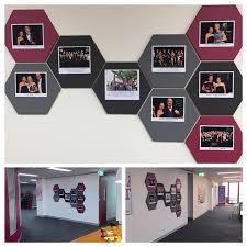 office pinboard. hexagonal designer pinboards as artwork in office break out area pinboard