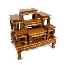Wooden Display Stands For Figurines Ornamental Teak Wood Buddhist Display Stand Altar Set for Buddhas 38