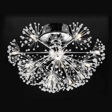 led lamp luxury modern led crystal ceiling light fixtures living room dandelion flower design chrome iron