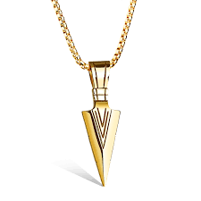 gold spearhead mens pendant necklace stainless steel